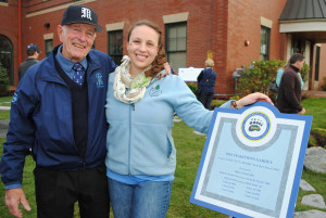 Al McNeilly '44 with Ashley Robinson '10 at dedication of Tradition Gardens, Homecoming 2010.