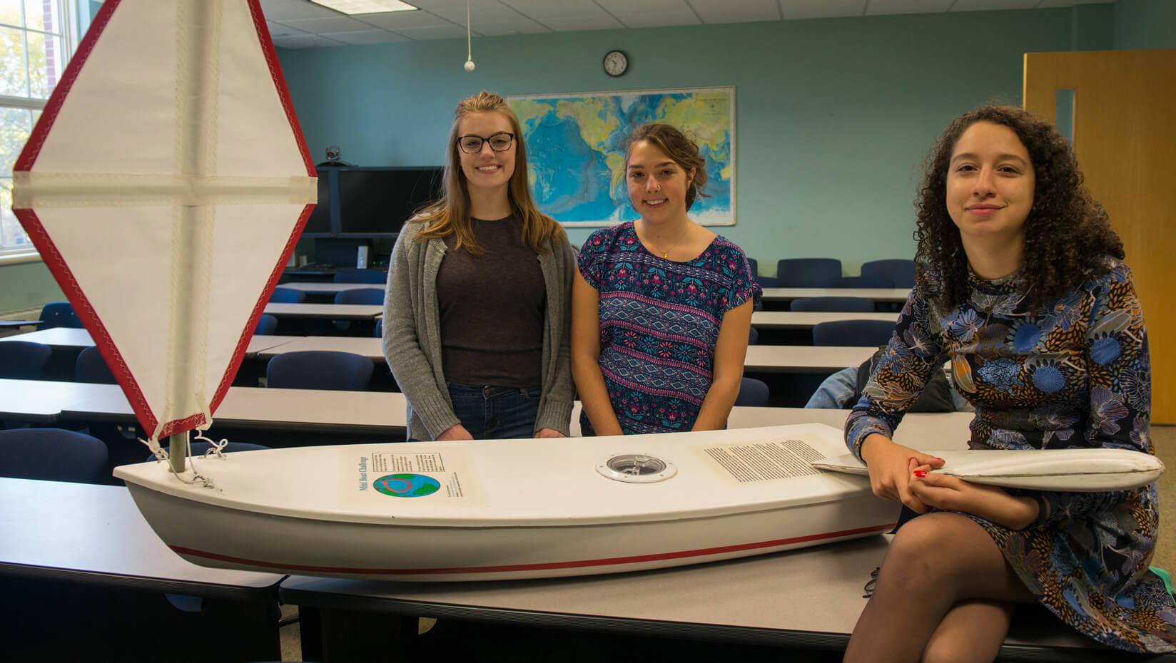 Marine Sciences undergrads demo unmanned sailboat