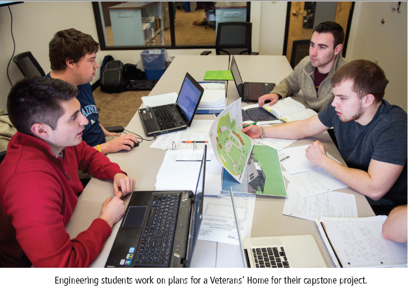 Engineering students work on their capstones
