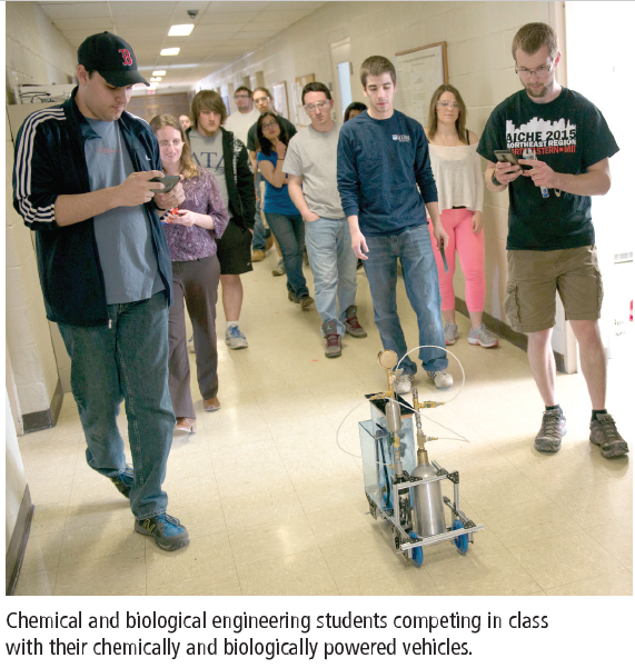 Engineering students compete with their chemically and biologically powered vehicles.
