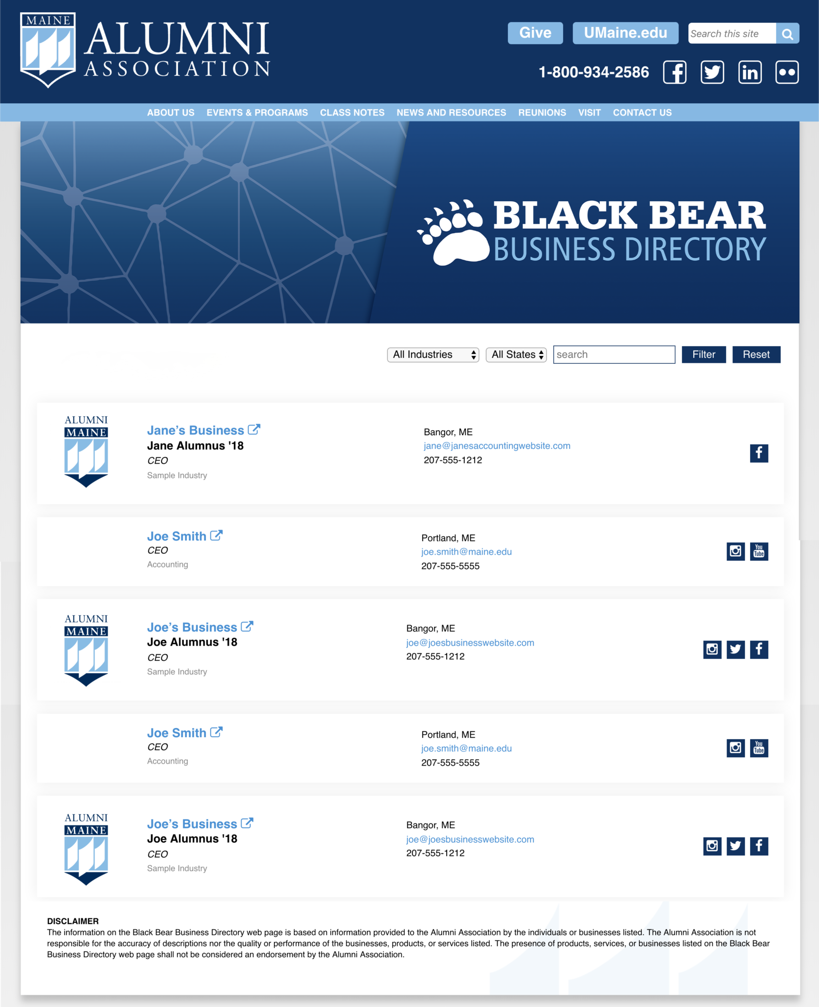 Black Bear Business Directory Sample Page