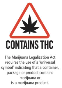 """Image that reads: Contains THC –the marijuana legalization act requires the use of a universal symbol indicating that a container, package or product contains marijuana or is a marijuana product."""""""