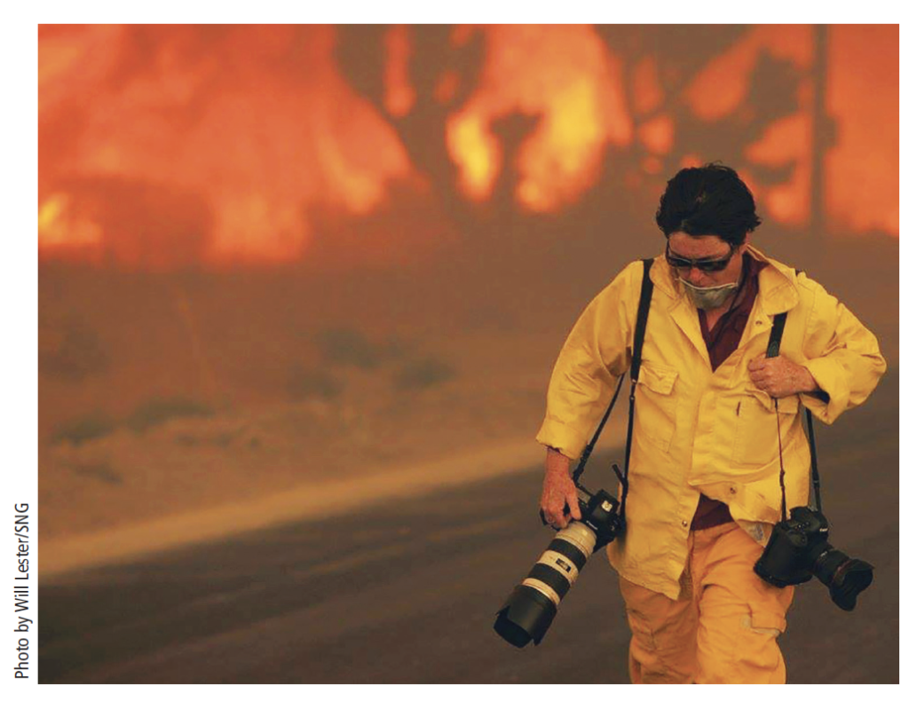 Gina Ferazzi photographing during one of the California wildfires