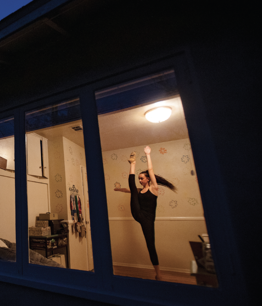 Photo of Grace Carter, 15, of Riverside practices her dance routine in the isolation of her bedroom since her dance classes and school were canceled during the coronavirus pandemic on March 31, 2020 in Riverside, California.