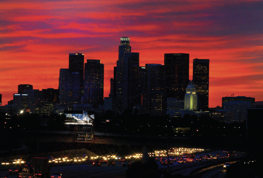 Downtown LA skyline with a red sky one evening in November