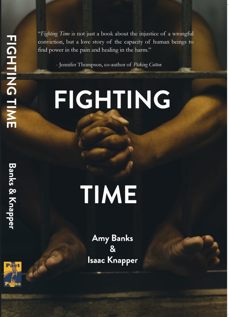 """Image of a book cover showing a young Black man's hands and feet behind prison bars titled """"Fighting Time"""" by Amy Banks and Isaac Knapper"""