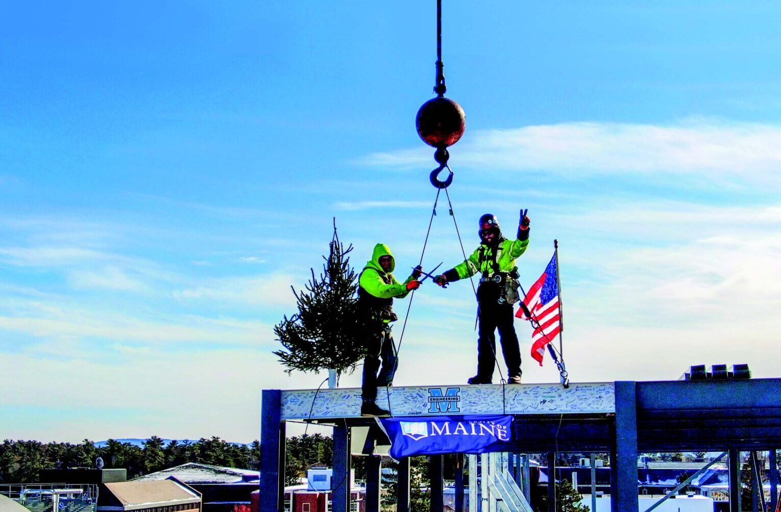 Final beam of Ferland Engineering Education and Design Center installed.